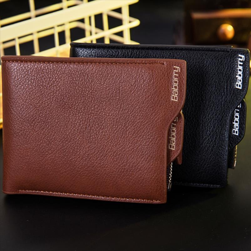 Nuevo robo de RFID llegada proteger la moneda del bolso de la cremallera de los hombres Billeteras carpetas de los monederos para los hombres con RFID bloqueo Tarjeta monedero