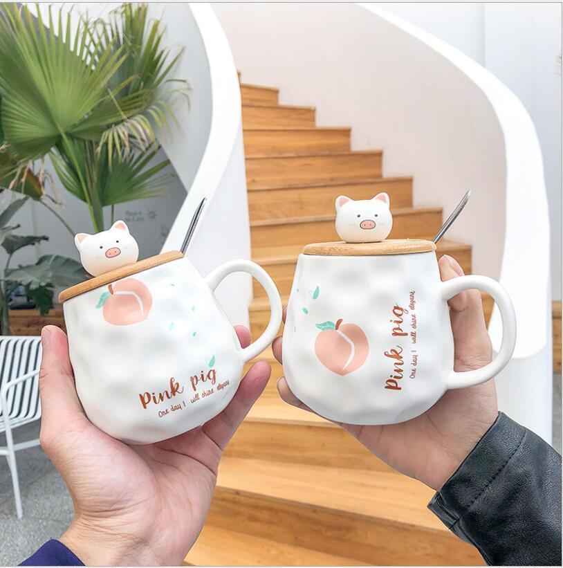 Domuz kupalar Sevimli karikatür ahşap kapak domuz buzlu işkembe seramik fincan yaratıcı Mug iş ofis su bardağı öğrenci bardağı