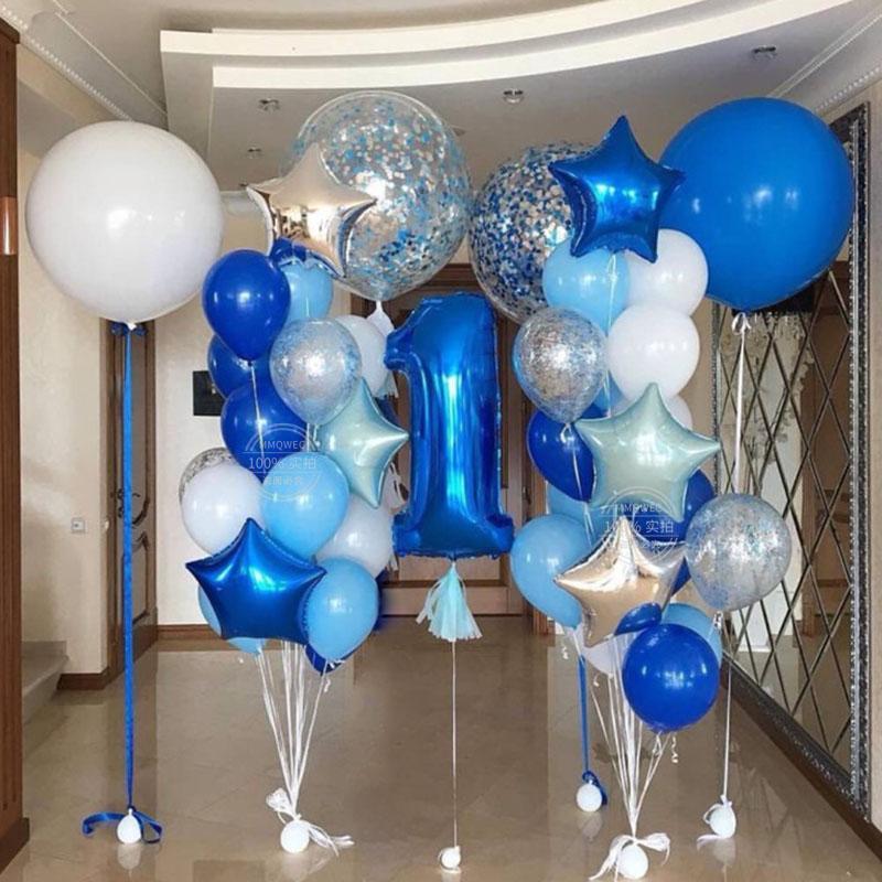 palloncini festeggiato 36inch grande rotonda blu bianco trasparente confetti palloncino bambino 1st Birthday Party Decoration gonfiare ballon