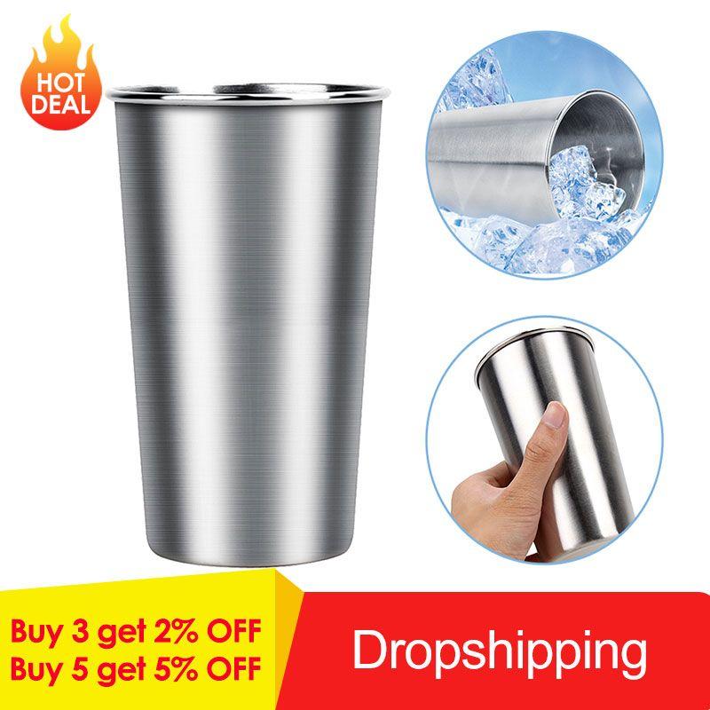 Aço inoxidável 350ml / 500ml canecas metal canecas Tumbler Pint Glasses Cups Outdoor Camping Café bebendo chá Beer