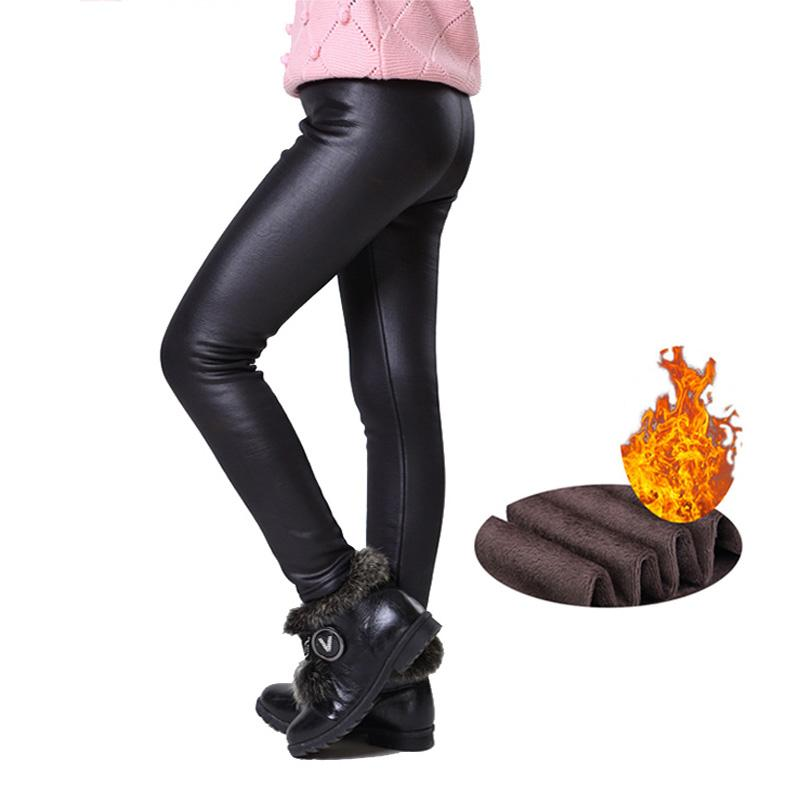 Caliente del invierno de las muchachas de las polainas de cuero de imitación de la PU pantalones flacos de espesor de terciopelo para niños Pantalones de chicas Leggins Pantalones