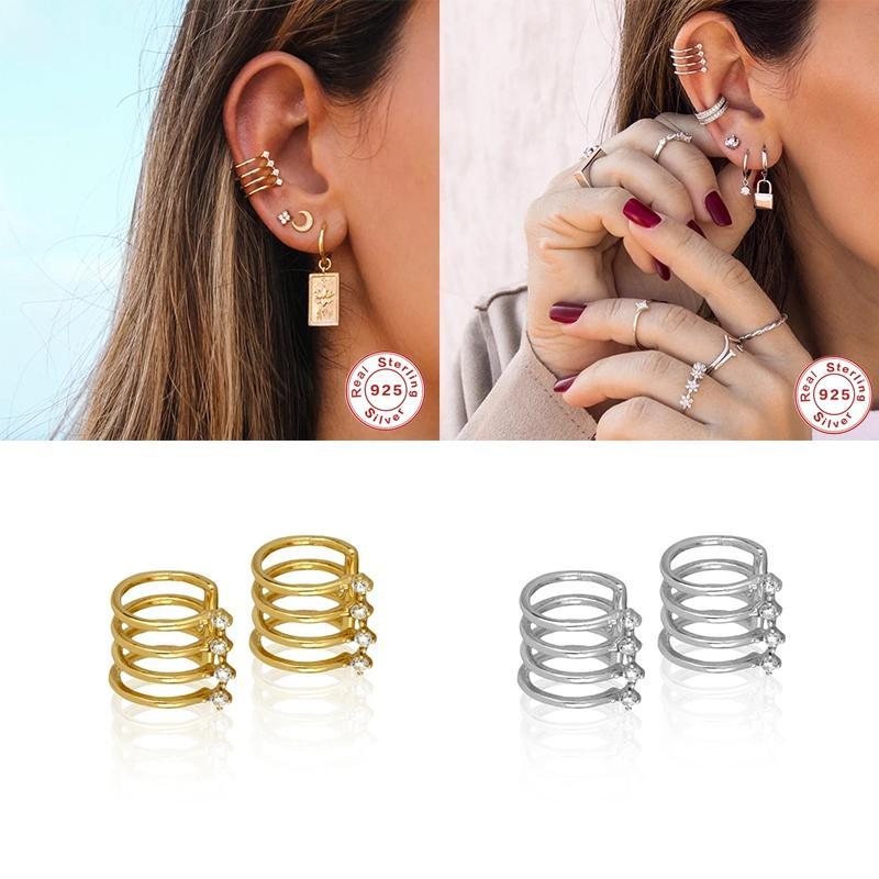 925 Sterling Silver Luxury Hiphop Punk Ear Cuff серьги для женщин Earcuff клип на серьги Нет Pierced Элегантные серьги ювелирные изделия