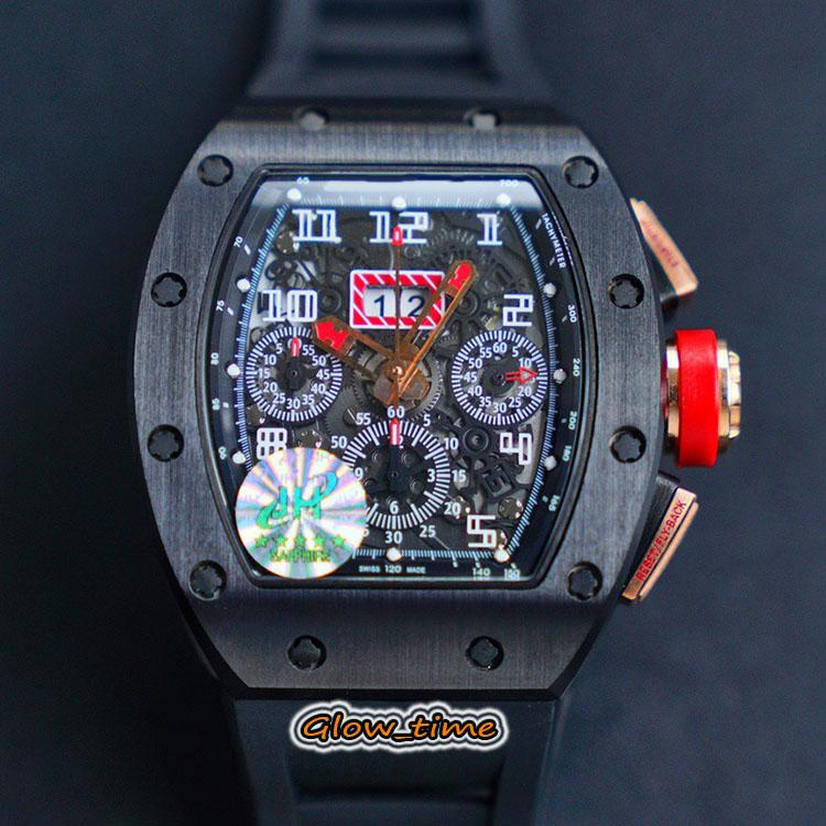 Top JHF versión RM11-03 Esqueleto Dial ETA Flyback 7750 cronógrafo automático RM 11-03 del reloj para hombre Cerámica caja de la correa de goma relojes deportivos