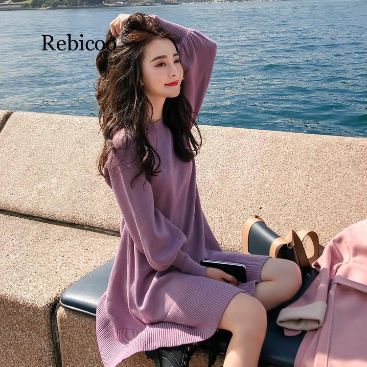 De punto de punto con O-cuello de la cintura delgada de alta inferiores de otoño e invierno las mujeres suéter ocasional vestido T200814