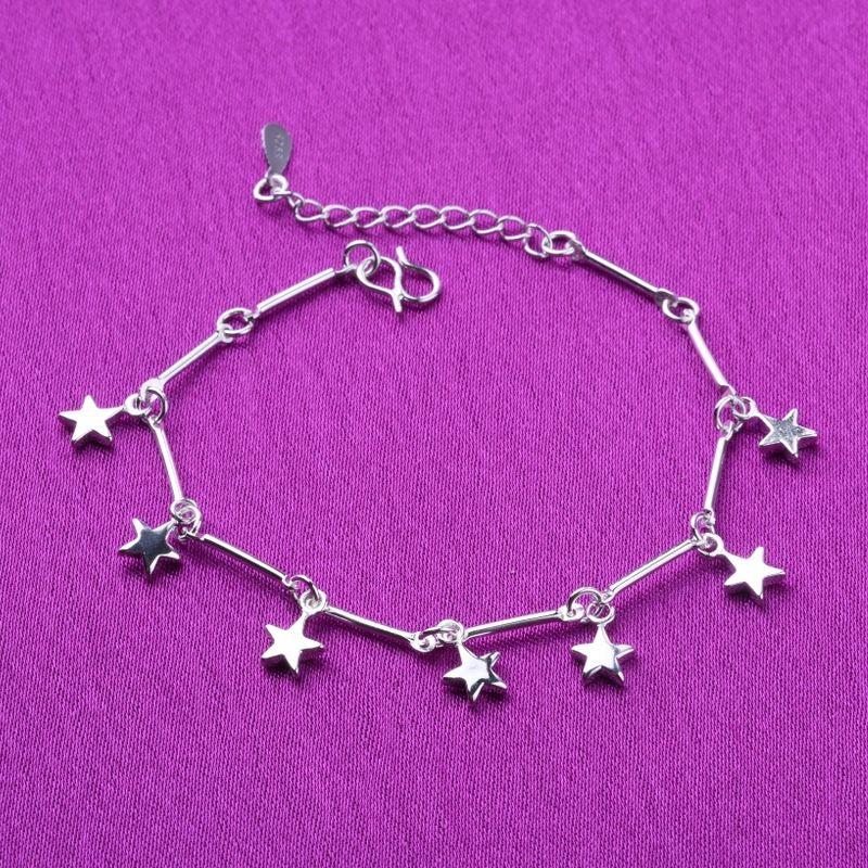 KeAQe chaîne Femmes pieds étoile noeud bambou bracelet en argent étoile à cinq branches ornements de la chaîne de pied accessoires en argent clair Bracelet cadeau Smal
