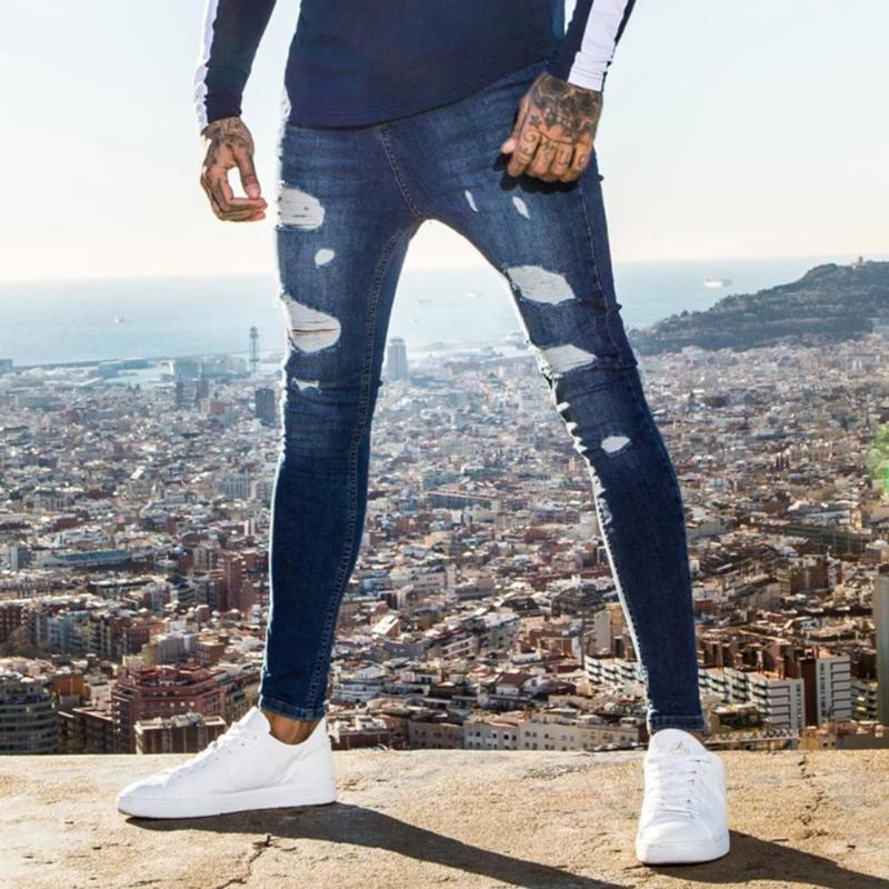 Compre Los Hombres Pantalones Vaqueros Rasgados Hip Hop Ropa Super Skinny Jeans Stretch Azul Del Motorista De Moda Para Hombre Slim Fit Streetwear A 19 11 Del Blueberry12 Dhgate Com