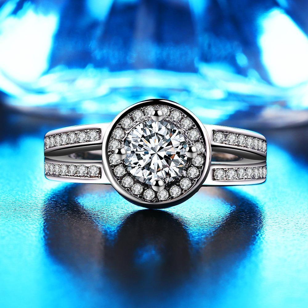 Manera europea y americana Micro-anillo conjunto redondo al por mayor del anillo de diamante de alta calidad 3A Circón Classic propuesta de la Mujer.