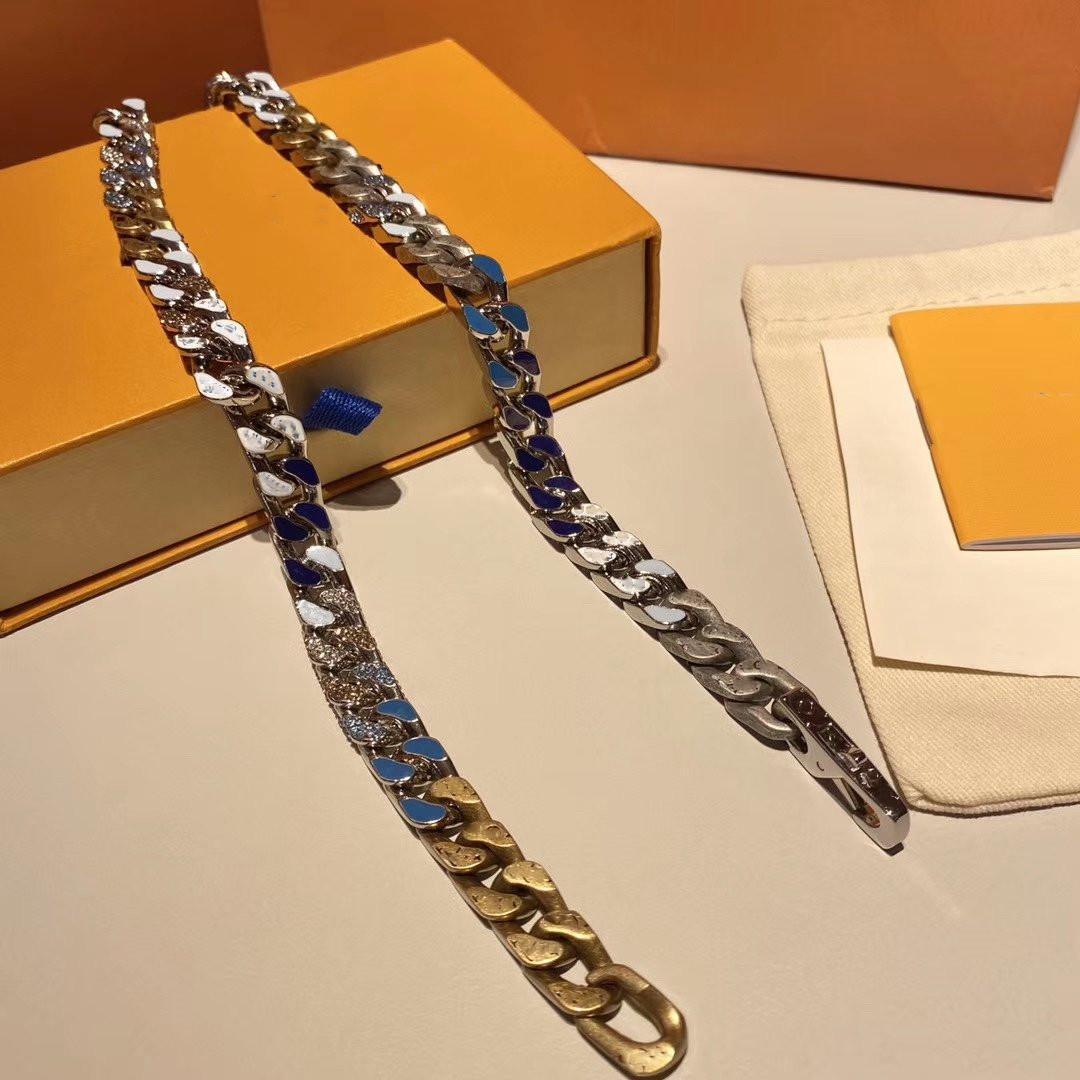 Collana in fibbia in fibbia argento blu caramelle cubane Collana uomo angosciata lucidata e smaltata 60cm collana in acciaio inox