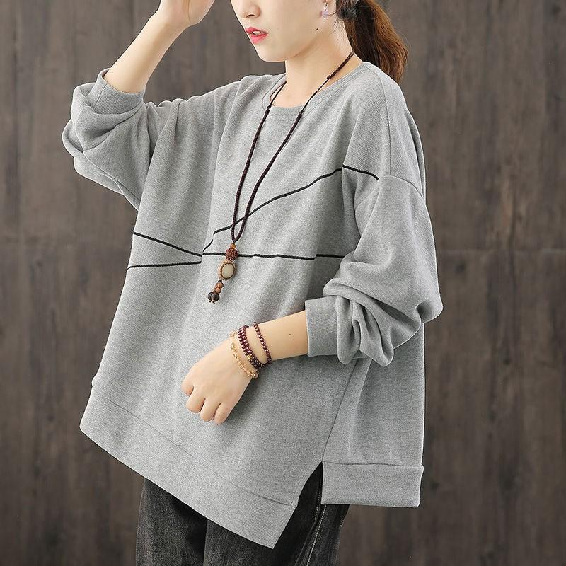 Women's Hoodies & Sweatshirts 2021 Autumn Fashion Women Long Sleeve Loose Pullovers All-matched Casual Asymmetry Cotton O-neck Embroidery M3