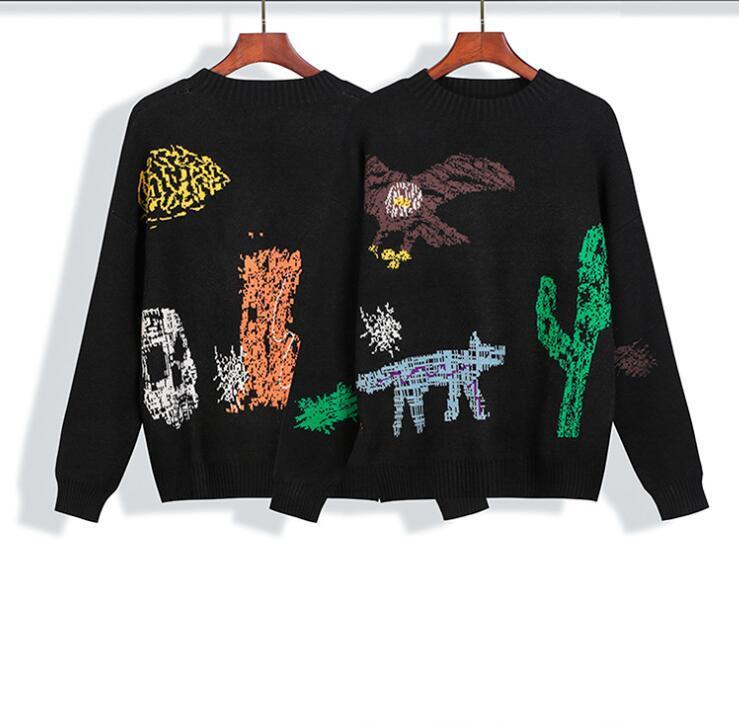 2020SS нового высокого качества пальмы и ангела мультфильм пуловер свитер животных для мужчин и женщин паров