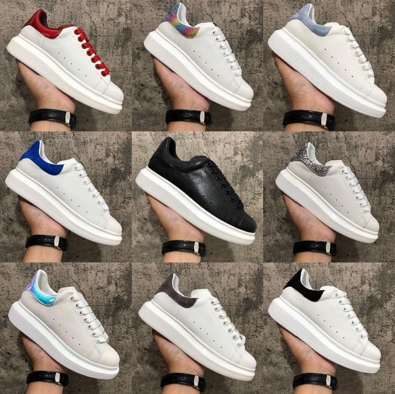 2020 En Kaliteli ayakkabı Gerçek Deri Sneaker Erkek Kadın Moda Beyaz Deri Platform Ayakkabı Düz Günlük Ayakkabılar