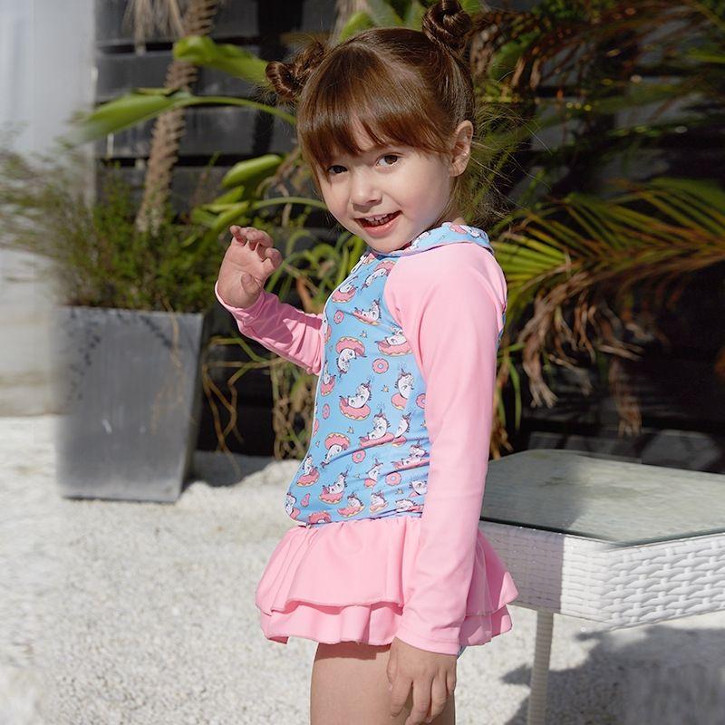 GYOoO 2019 Pengpeng hot-Verkauf von Kindereinteiligen zweiteiligen Satz langer Hülsenrock Pengpeng Rock Badeanzug Sonnenschutz Neue kurze printe vyOCK
