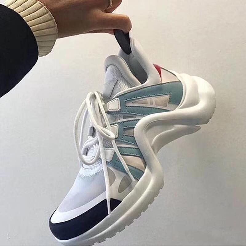 Frau Sportschuhe Männer echtes Leder-Sneaker Sohle Freizeitschuhe Mode Thick Boden Frenulum Kletter Runner Schuhe 42