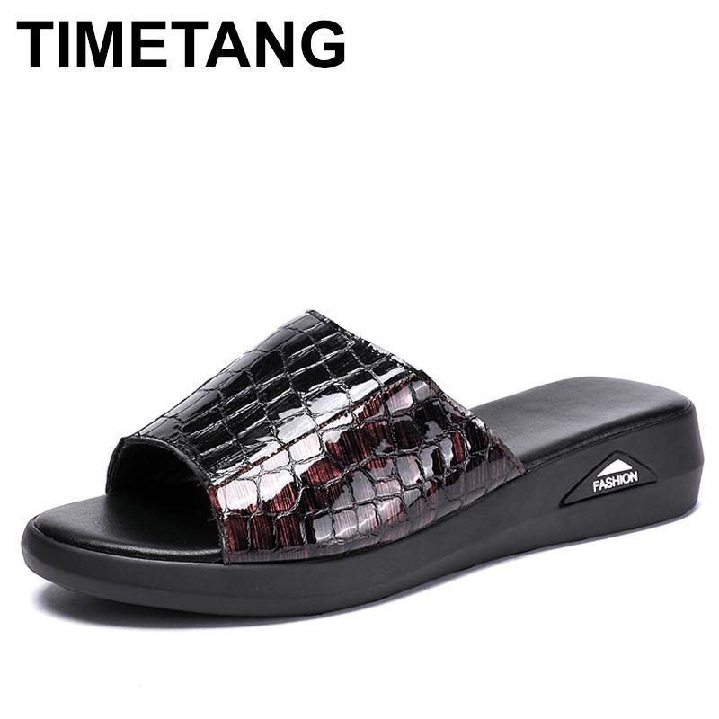 TIMETANGWomen Terlik Gerçek Deri Ayakkabı Casual Slaytlar Kadınlar Yaz Ayakkabı Katı Anne takozları FlopsE779 çevirin
