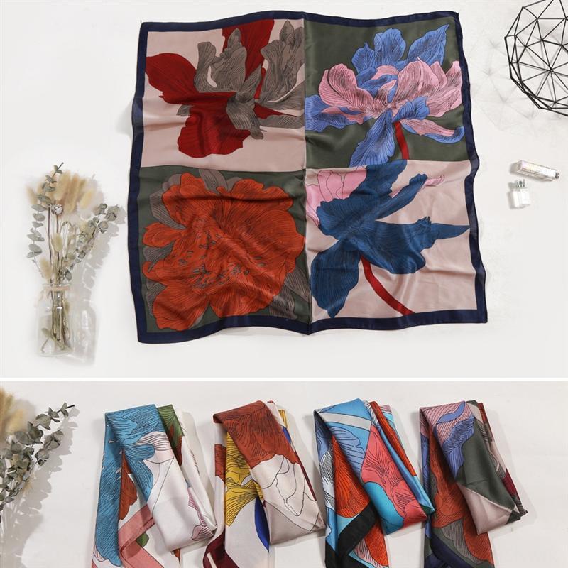 jLYaU Güney yüz havlusu yüz havlusu kare Kore 70cm kare dört renkli çiçek mizaç tuval kumaşı küçük iç dekoratif eşarp küçük
