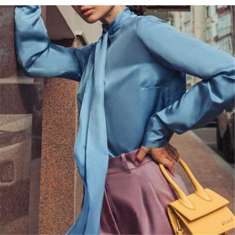 2020 Solid Color New Women shirt de manga comprida Colarinho alto Cubra com fita Casual Estilo Blusa Gola Shirts Mulheres Estilo