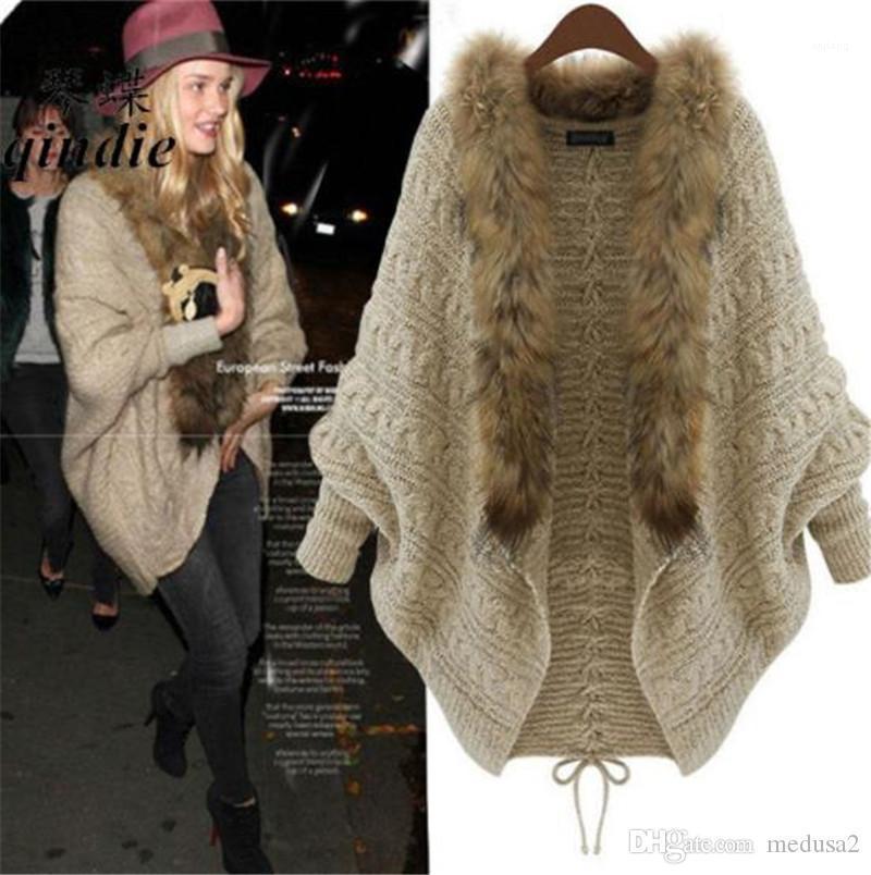 Sweaters Loose Elegant Cardigan Long Batwing Sleeved Fur Collar Sweaters Fashion Womens Sweaters Luxury Women Designer