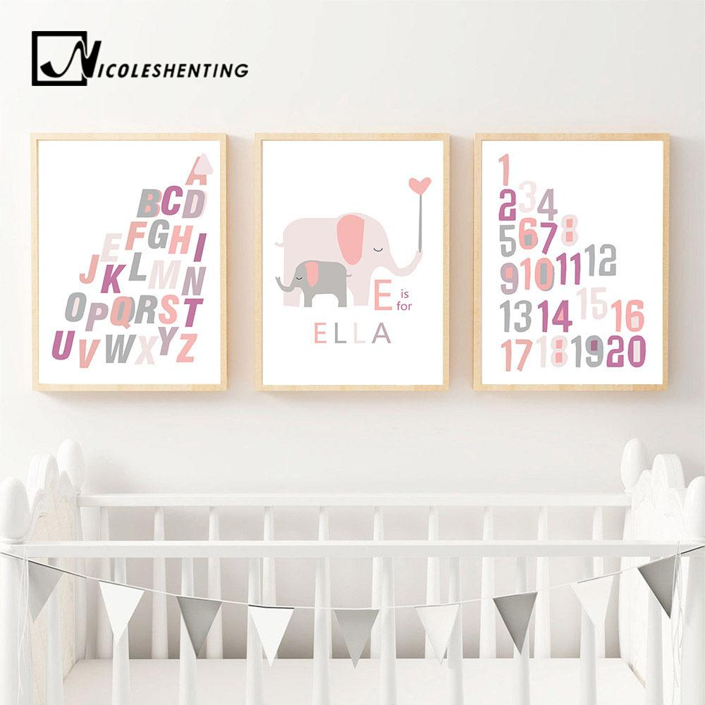 A to Z Alphabet Cartoon Elephant Wall Art Canvas Print Name Custom Poster Nursery Painting Picture Children Bedroom Decoration