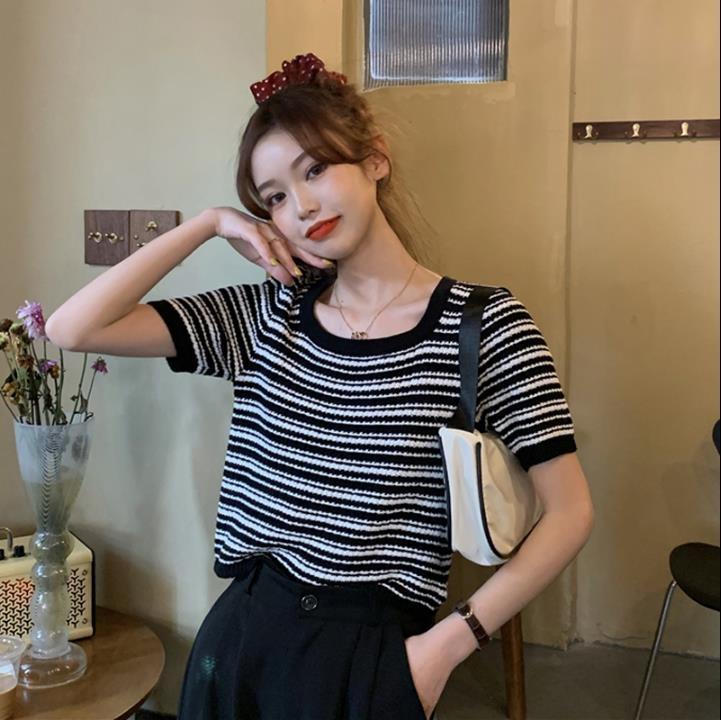 LzWqZ rodada coreana 2020 novo camisa fina pescoço magro listrado camisa de manga curta Verão de malha para mulheres H205