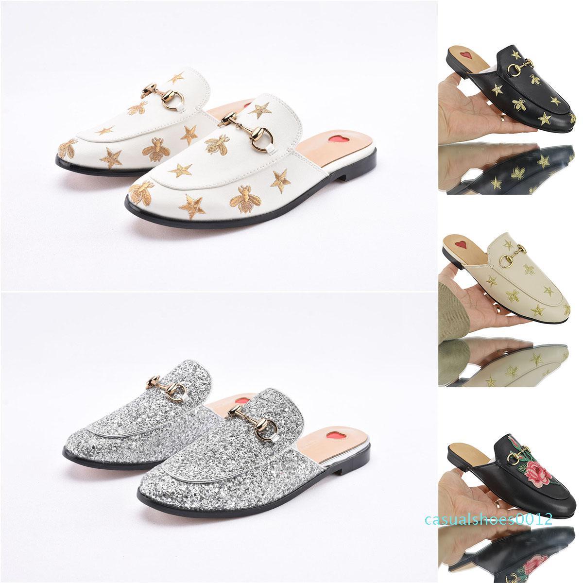 Toka Moda kadınlarla Tasarımcı lüks hakiki deri makosenler Kürk Muller terlik princetown Bayanlar Casual Katır Flats Ücretsiz nakliye c12
