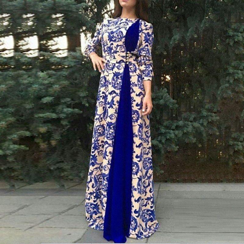 Kadınlar 4XL 5XL 6XL Bayanlar Frocks QNTk # için 2020 Kadınlar elbise Casual Uzun Kollu Patchwork Baskılı Maxi Giydirme Plus Size Elbise Güz