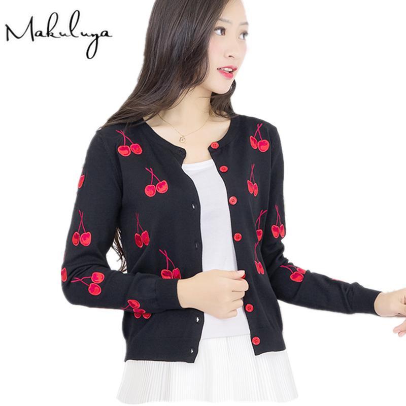 Makuluya Осень Весна Женщина свитер вишневых вышивки Pattern пальто куртка с длинным рукавом Vintage allmatch Вязание Кардиган L6 T200815