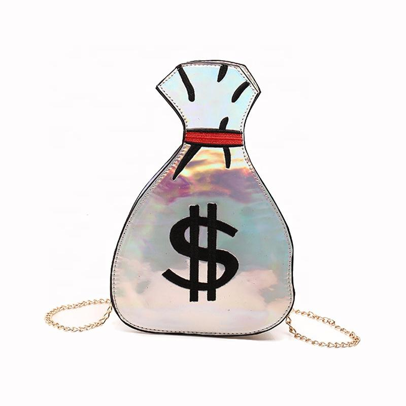 INEO HOT Party Day Casual Pack Ladies Designer Money Hand bag Shinning PU Laser Dollar Women Hand bags