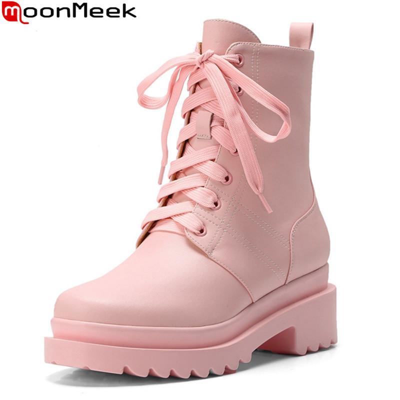 MoonMeek 2020 nuove donne di arrivo stivali stivali in vera pelle tacchi quadrati piattaforma punta rotonda di colore rosa della caviglia bianco rosa