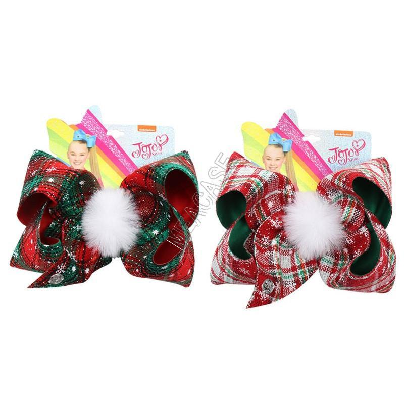 7inch JOJO Siwa Noel Firkete Bebek Kız Ekose Büyük Yaylar Saç Klip ilmek Kürk Topu Saç iğneler Bobby Pin Tokalarım Noel Saç Klipler D92201