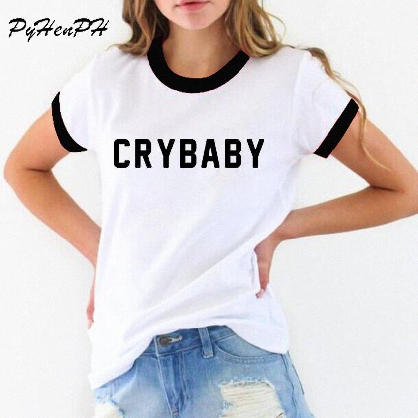 Vente en gros PyHen femmes Cry Baby T-shirt drôle Adolescent étudiant shirt femme fille T-shirt T-shirt femmes Novelty O Neck Tops Blusas fkSm #
