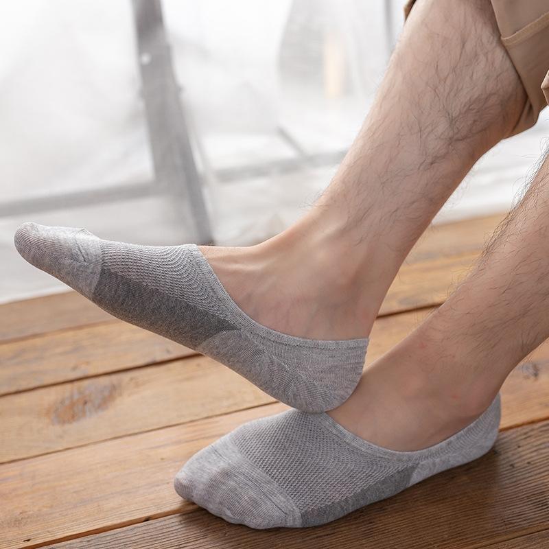 Frühling und Sommer Baumwolle Silikon unsichtbare Herren-atmungsaktiv Boot gestreiftes Silikon rutschfeste Socken für Männer unsichtbare Socken Netz