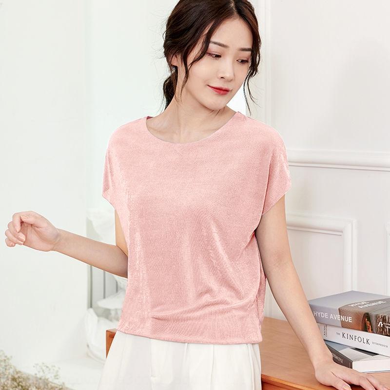 Nuovo a maniche corte brillante di seta intorno al collo di grandi dimensioni manica sottile pipistrello delle donne di estate Ice seta stile coreano casuale bottoming maglietta allentata T-sh