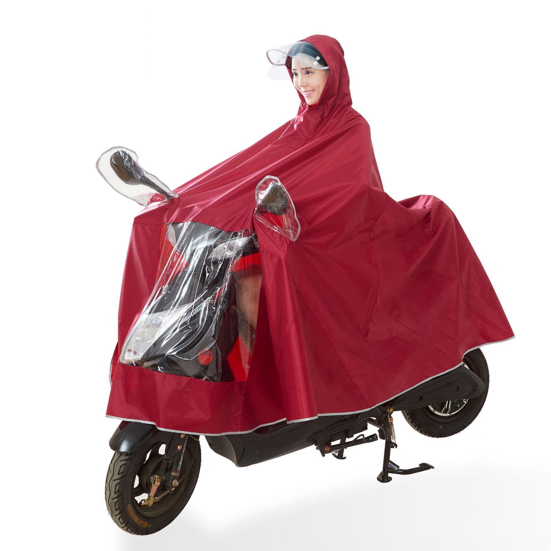 4jtLy Helmmaske verdickte Oxford Tuch vergrößert Elektroauto Poncho Autobatterie Oxford Motorrad Regenmantel wasserdicht winddicht