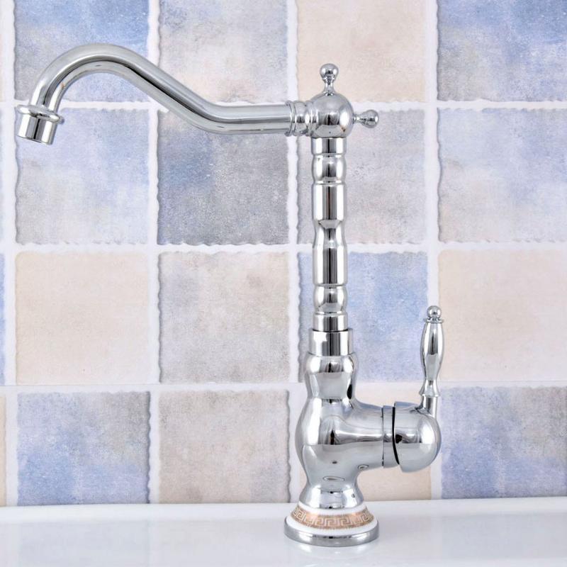 Свежие раковины для ванной комнаты полированные хромированные латунные ванныеКомбины крана бассейна тщеславие Mixer Tap 360 Swivel Spout одноручальное ручка монтируют LSF67