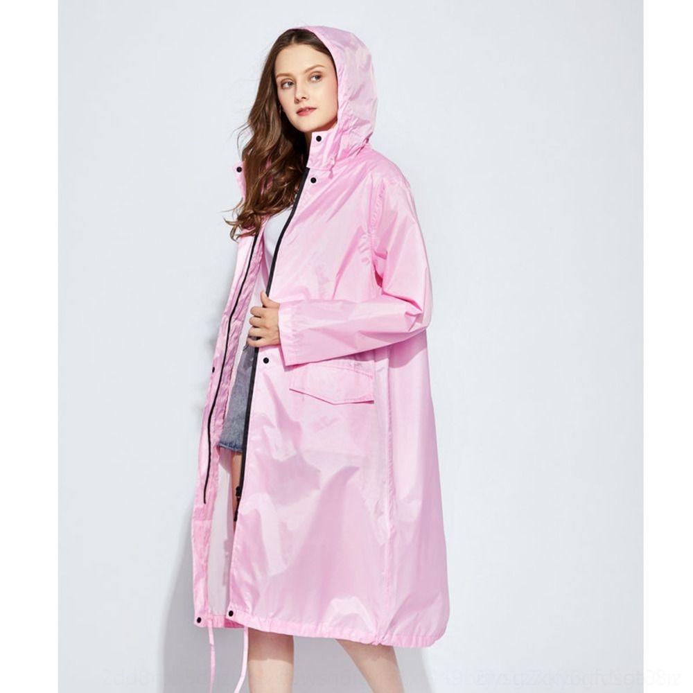 Kcqqu vmz9r Rain-proof hiking rain women's coat windbreaker coat fashionable adult long zipper waterproof trench windbreaker light and thin w