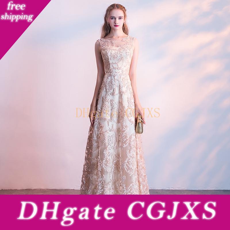 Scoop Neck Lace Abendkleid mit Applikationen Champagne Burgund Lange Abendkleid formales Partei-Kleid Robe Soiree Dubai