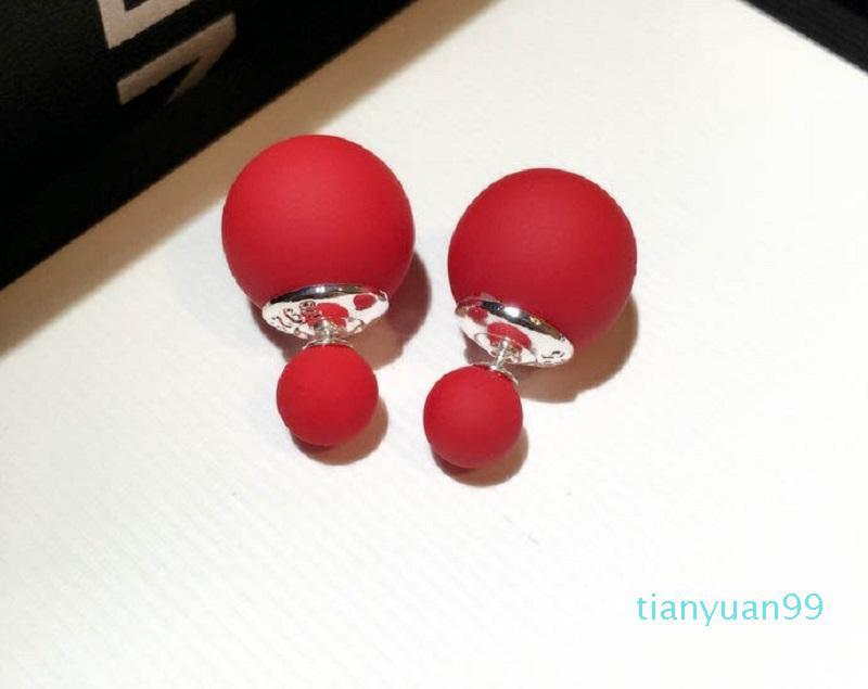 Hot Sale Ins jóias designer de moda de luxo exclusivo duplos de bela cor de doces linda fosco brincos bola para a mulher meninas