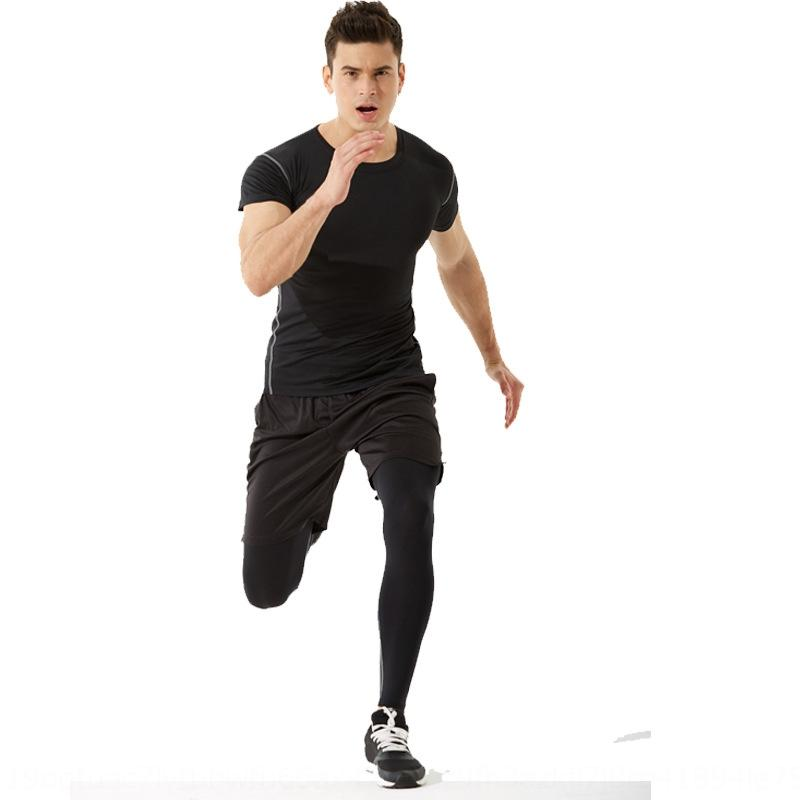 Спорт плотно короткая футболка рукав мужской летнего тренажерного зала быстрой сушка одежда работает летом высокая упругая футболку