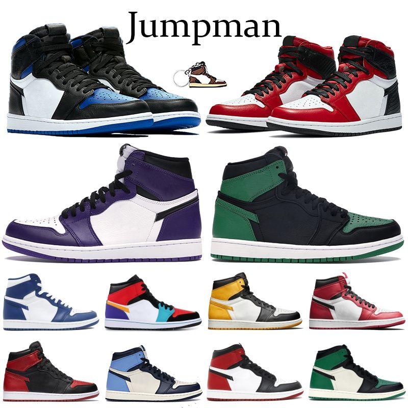 Jumpman 1 1s Mens Basketball обувь суд Фиолетовый Белый Royal Satin Snake Чикаго Toe Obsidian UNC Токио Multi-Color Спорт Бег кроссовки