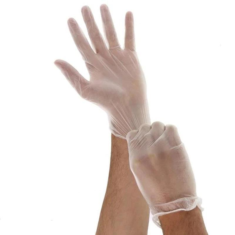 100 Guantes PCS vinilo transparente en polvo libre examen uso individual libre de látex no estéril de PVC Guantes Guantes desechables de protección Ambidiestro