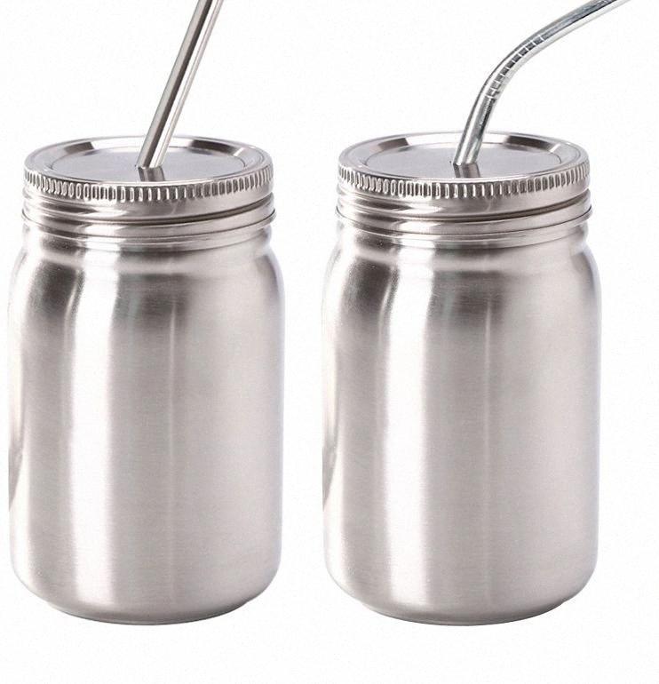 14 унций Мейсон банки из нержавеющей стали Widemouth Mason баночка с соломенной крышкой из нержавеющей стали пищевых контейнеров для питья и хранение LJJK2207 p55B #