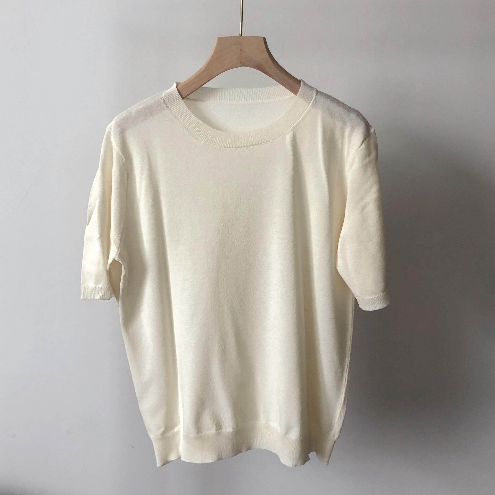 MAX дома в том же стиле тонкой рыхлых мод круглых пуловеры шеи короткую рубашка летом женщины пуловер Трикотаж трикотаж с коротким рукавом