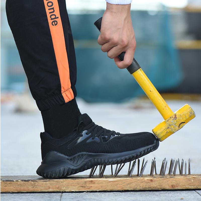 Scarpe otdoor scarpe del lavoro degli uomini di sacchetto dell'acciaio capo traspirante Safty Guardia escursionismo Men Anti-smashing Anti-piercing di caccia per scarpe