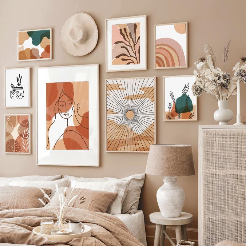 Linha Art Poster Abstract pintura da lona Impressão Sun Wall Art Ainda vida moderna Imagem Para Living Room On The Wall Home Decor