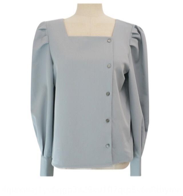 ins coreanas camisa de las mujeres del resorte del sentido del diseño nicho Top camisa ropa linterna suave cuello cuadrado que rompe el corazón clavícula adelgazamiento Lanter