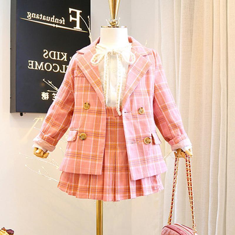 Roupas Crianças Set 2020 Outono Nova Meninas manga comprida rosa moda da manta 2 Pcs Brasão + saia da criança Roupa X0923