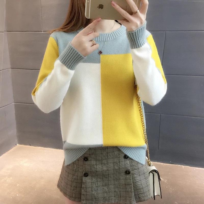 2QFBt Fr1eh конфеты цвет свободно ранней осенью новый корейский стиль цвет соответствия женщин длинный вязаный рукав пуловер пассивом конфеты пуловер Шир