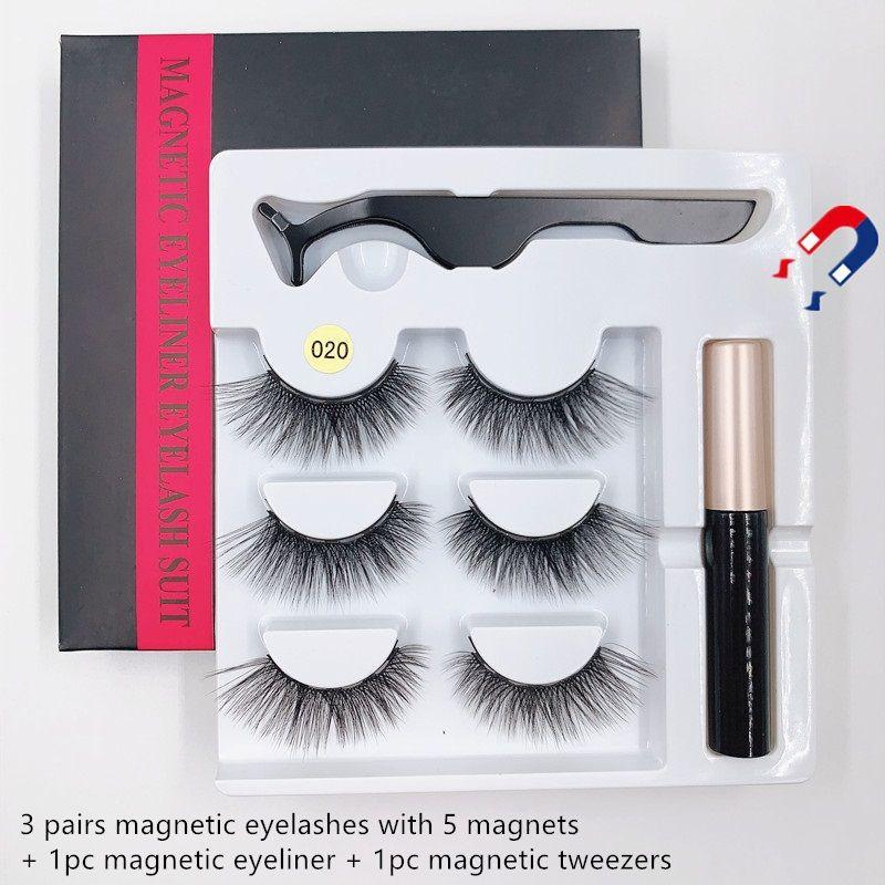 SICAK Satış 3Pairs / set Manyetik Kirpikleri Yanlış Lashes + Likit Eyeliner + Cımbız göz makyajı yok Yapıştırıcı Gerekli 3D mıknatıs Yanlış kirpiklerini set
