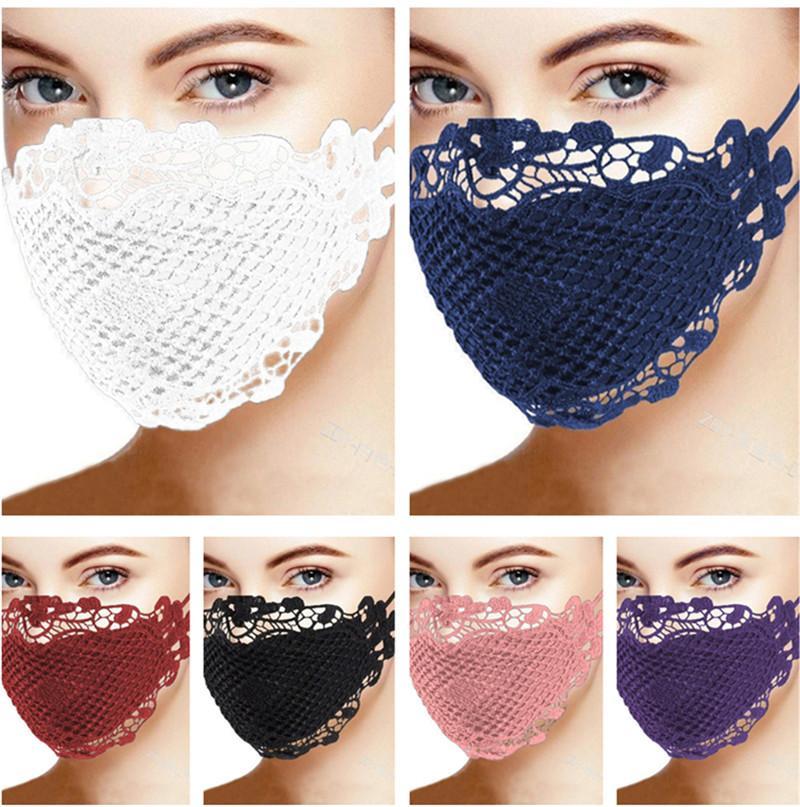 Fronte delle donne di modo della mascherina adulti merletto della stampa di stile Covers maschere di protezione antipolvere antivento cotone esterna traspirante lavabile Maschere 2020