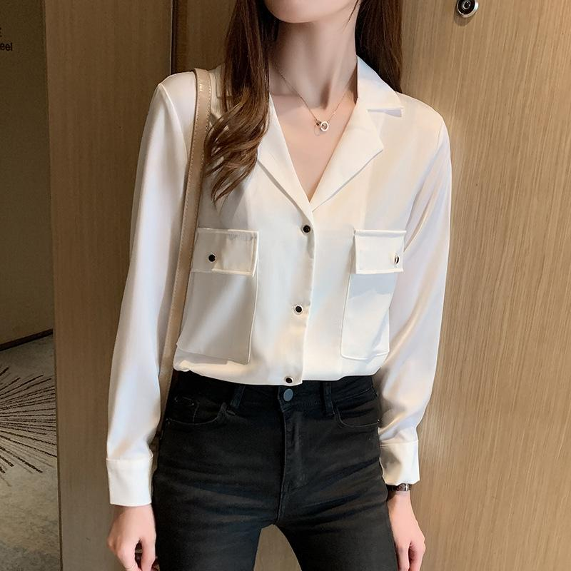 CqPmO Automne et Hiver 2020 new style manches tout match V-cou grande poche Top longue Top en mousseline de soie chemise chemise femmes coréenne automne